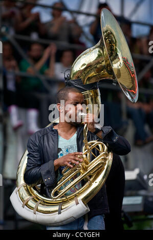 Damon 'Tuba Gooding Jr.' Bryson of The Roots performs during the 40th Earth Day Anniversary  celebration and free - Stock Photo