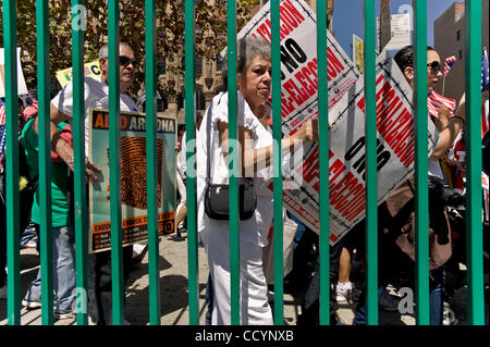 May 1, 2010 - Los Angeles, California, USA -  People march in the annual International Workers Day rally in the - Stock Photo