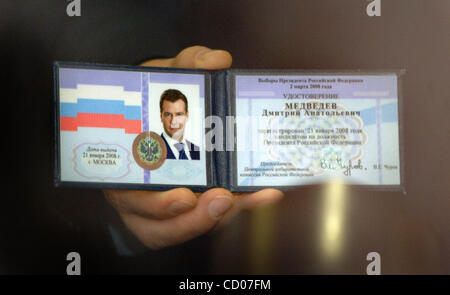 Apr 15, 2008 - Moscow, Russia - At the congress meeting, Russian President-elect DMITRY MEDVEDEV refused to join - Stock Photo