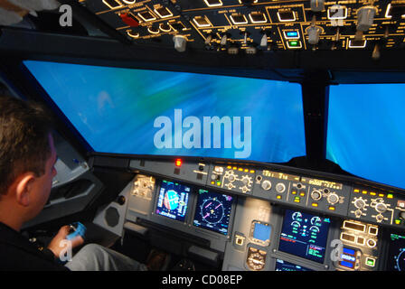 Aeroflot Flight training school in Moscow. Pictured: Interior cockpit of A320 airbus Flight Simulator. A flight - Stock Photo