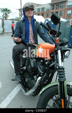 Mar 20, 2010 - Austin, Texas, USA - JOHN DWYER of 'Thee Oh Sees' on a Harley during South by Southwest (SXSW) music - Stock Photo
