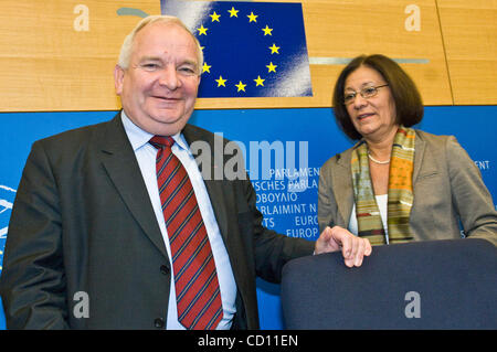 Member of the European parliament and President of PPE-DE parliamentary group Joseph Daul and Ewa Klamt arrive for - Stock Photo