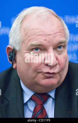 Member of the European parliament and President of PPE-DE parliamentary group Joseph Daul  attends a news conference - Stock Photo