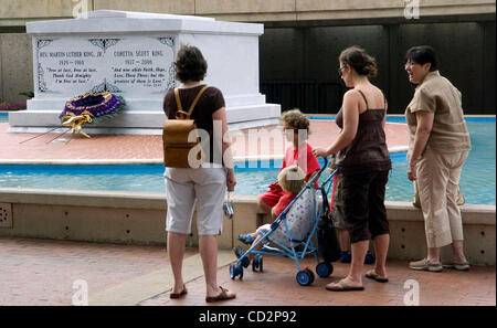 ATLANTA, GA - JULY 31:  The tomb of Martin Luther King Jr. and his wife Coretta Scott King at The King Center in - Stock Photo