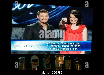 Mar 18, 2008 - San Diego, California, USA - American Idol TV show is showing on a TV screen at The Field Pub in - Stock Photo