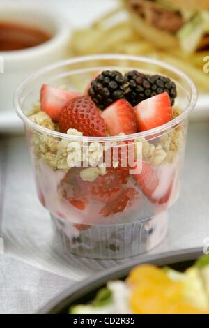 Mar 18, 2008 - San Diego, California, USA - Detail view of a Lowfat Yogurt Parfait Shooter during the preview of - Stock Photo