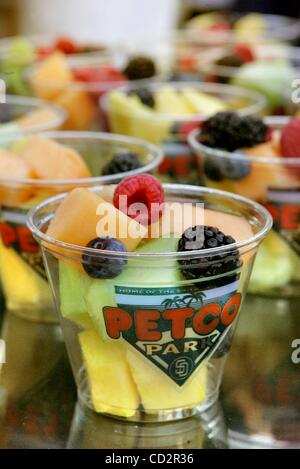 Mar 18, 2008 - San Diego, California, USA - Detail view of a Fruit Salad during the preview of the new food offerings - Stock Photo