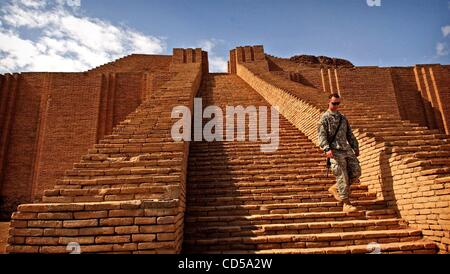 Mar 01, 2008 - Tallil, Iraq - Looking out from the top of the Ziggurat of Ur .  On the outskirts of Camp Adder, - Stock Photo