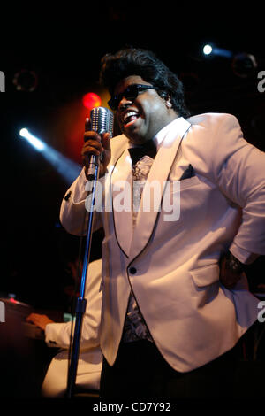 Gnarls Barkley performing at The Highline Ballroom on April 10, 2008. Danger Mouse (Brian Burton) - in sunglasses - Stock Photo