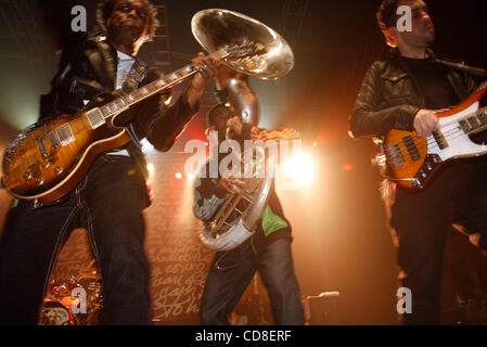 The Roots performing at Roseland Ballroom on October 28, 2008. Vocals -with cap and glasses , red jacket- Black - Stock Photo