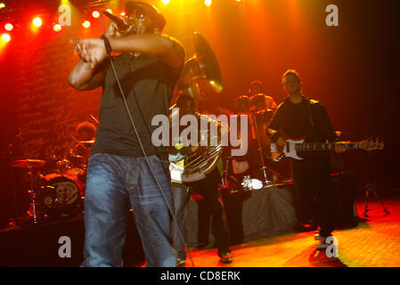 The Roots performing at Roseland Ballroom on October 28, 2008. Vocals -with cap and glasses - Black Thought Drums - Stock Photo