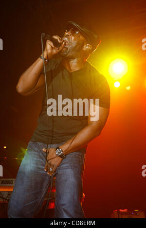The Roots performing at Roseland Ballroom on October 28, 2008. Vocals -with cap and glasses - Black Thought - Stock Photo