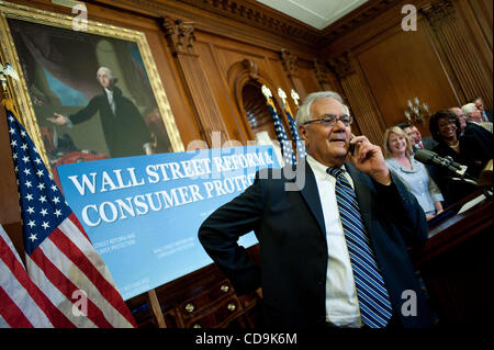 Jul 15, 2010 - Washington, District of Columbia, U.S., - Representative Barney Frank talks on his cell phone following - Stock Photo