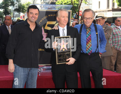 Sep 14, 2010 - Hollywoodwood, California, USA - LARRY KING & Actor SETH MACFARLANE joins BILL MAHER as he Receives - Stock Photo