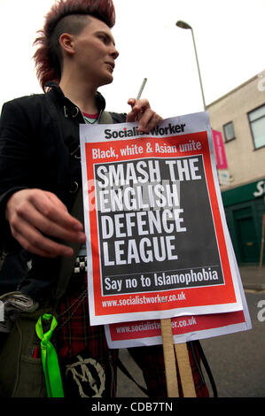 Oct. 9, 2010 - Leicester, England, United Kingdom - Members of Unite Against Facism (UAF) waged a counter-protest - Stock Photo