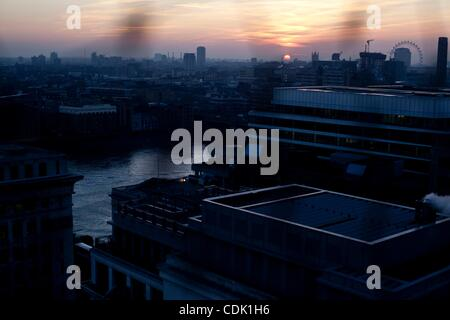 Mar 07, 2011 - London, England, United Kingdom - London skyline, viewed from the Monument. The Monument stands at - Stock Photo
