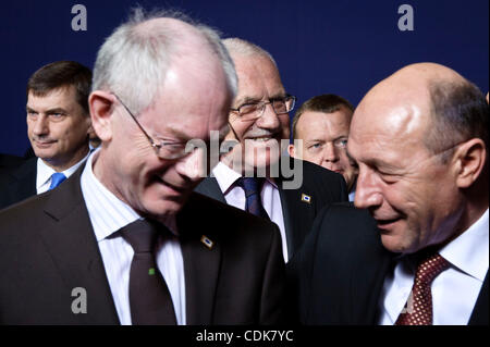 Mar. 11, 2011 - Brussels, BXL, Belgium - (L-R) Andrus Ansip, Estonia's prime minister , President of the European - Stock Photo