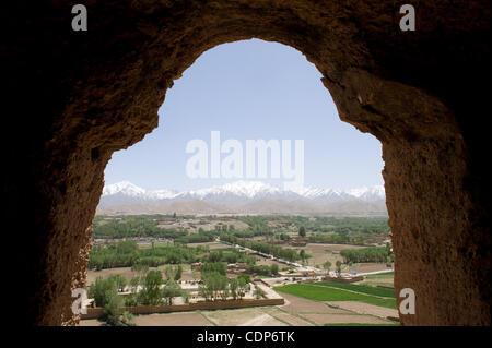 May 15, 2011 - A view  overlooking Bamiyan from the upper interior of one the ancient Buddha statues  are shown - Stock Photo