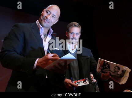 Apr 24, 2011 - Moscow, Russia - Actors DWAYNE JOHNSON and PAUL WALKER attend the premier of Russian Premier of Fast - Stock Photo