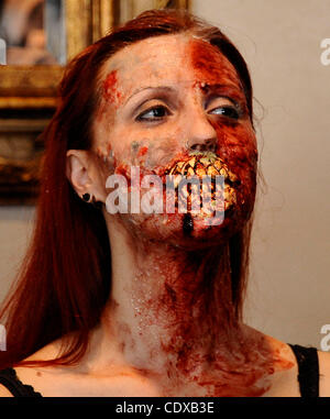 Model Mandi Moss is transformed into a zombie with just using house hold products in 30 minutes during the worldÕs - Stock Photo