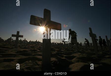 Oct. 9, 2011 - Los Angeles, California, U.S. - Crosses at the Arlington West War memorial in Santa Monica, California - Stock Photo