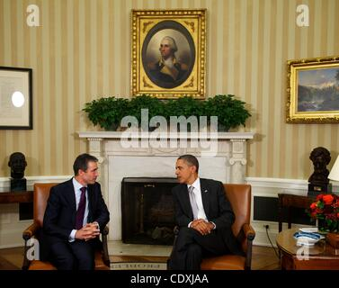 Sept. 5, 2011 - Washington, District of Columbia, U.S. - President BARACK OBAMA meets with NATO Secretary General - Stock Photo