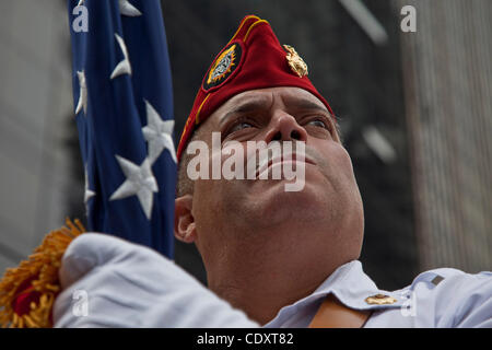 Sept. 11, 2011, New York, New York, U. S. -  STEVEN CIFARELLI a mamber of the Marine Corps League color guard stands - Stock Photo