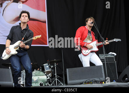 Aug 5, 2011 - Chicago, Illinois; USA - Musician JUSTIN YOUNG and Guitarist FREDDIE COWAN of the band The Vaccines - Stock Photo