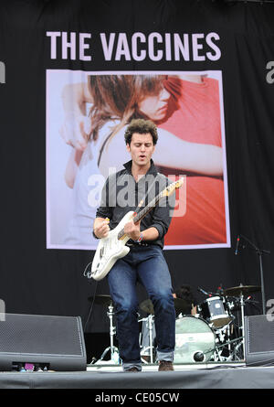 Aug 5, 2011 - Chicago, Illinois; USA - Guitarist FREDDIE COWAN of the band The Vaccines performs live as part of - Stock Photo