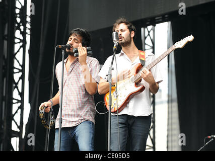 Aug 5, 2011 - Chicago, Illinois; USA - Singer SAMEER GADHIA and Guitarist ERIC CANNATA of the band Young The Giant - Stock Photo