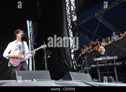 Aug 7, 2011 - Chicago, Illinois; USA - Musician RICK OCASEK and Keybordist GREG HAWKES of The Cars performs live - Stock Photo