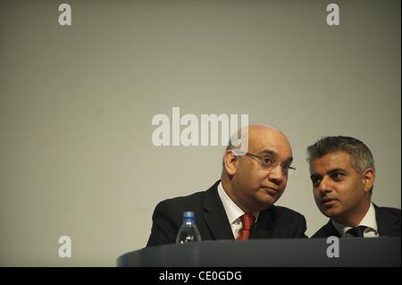 Sept. 28, 2011 - Liverpool, England, UK - MP KEITH VAZ, Shadow Justice Secretary SADIQ KHAN confer during speeches - Stock Photo