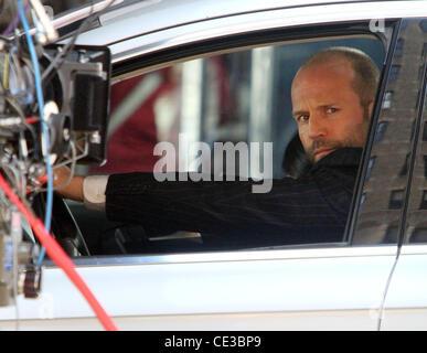 Jason Statham filming 'Safe' on location in Manhattan  New York City, USA - 22.10.10 - Stock Photo