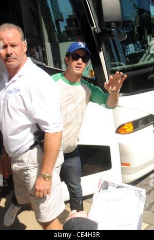 Kevin Jonas of The Jonas Brothers  leaving the Four Seasons Hotel surrounded by fans. Philadelphia, Pennsylvania - Stock Photo