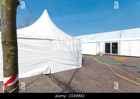 large white event tent for the annual carnival festivities in Oldenzaal Netherlands - Stock Photo & large white event tent for the annual carnival festivities in ...