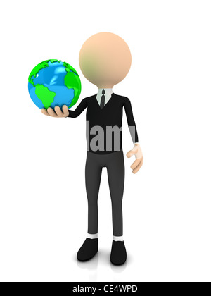 3d businessman with globe over white. computer generated image - Stock Photo