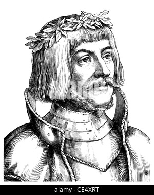 Historical drawing of the 19 th century, Ulrich von Hutten, 1488 - 1523, a German humanist - Stock Photo