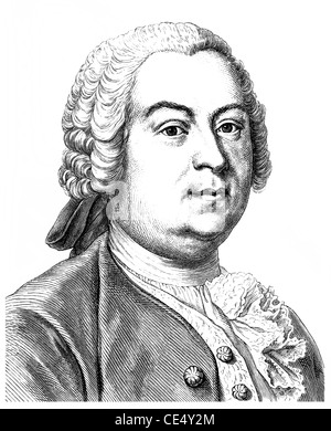 Johann Christoph Gottsched, 1700 - 1766, a German writer, dramatist and literary theorists of the Enlightenment - Stock Photo
