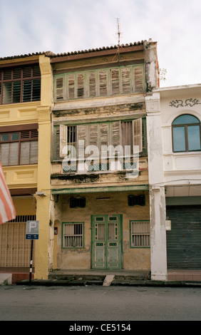 Traditional Peranakan Baba Nonya shophouse building architecture in George Town in Chinatown in Penang Island in - Stock Photo