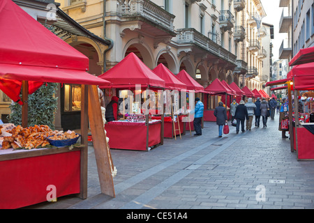 Christmas market in the Via Nassa in Lugano, Ticino, Switzerland - Stock Photo