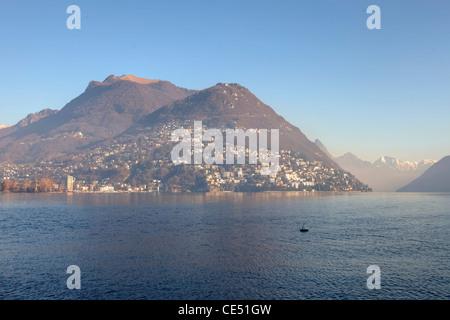 The mountain of Lugano, Monte Bre, the Lago di Lugano in Ticino, Switzerland - Stock Photo