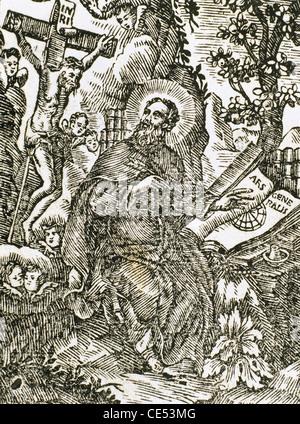 Ramon Llull (1235-1316). Spanish writer and philosopher. Engraving. 1739. - Stock Photo