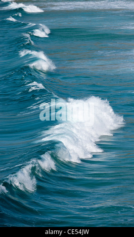Breaking Atlantic wave off the coast of West Cornwall, England. - Stock Photo