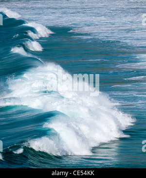 Breaking Atlantic wave off the coast of West Cornwall - Stock Photo