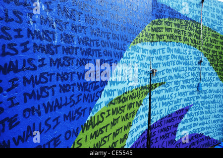 'I Must Not Write on Walls', a graffiti wall in Stokes Croft, Bristol - Stock Photo