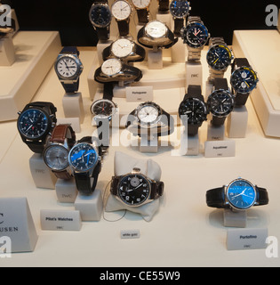 A display of luxury watches is seen in the window of a jewelry store in New York - Stock Photo