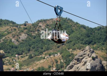 italy, basilicata, dolomiti lucane regional park, pietrapertosa, volo dell'angelo - Stock Photo