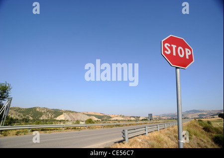italy, basilicata, road stop sign - Stock Photo