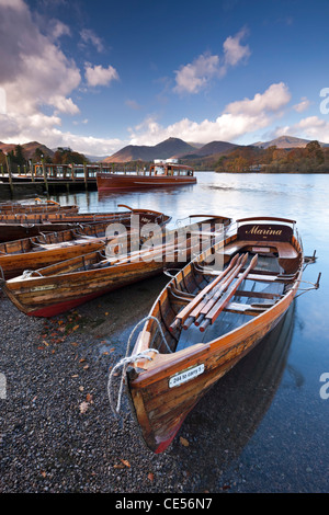 Wooden Rowing Boats on Derwent Water, Keswick, Lake District, Cumbria, England. Autumn (November) 2011. - Stock Photo