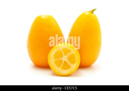 Kumquats on a white background - Stock Photo